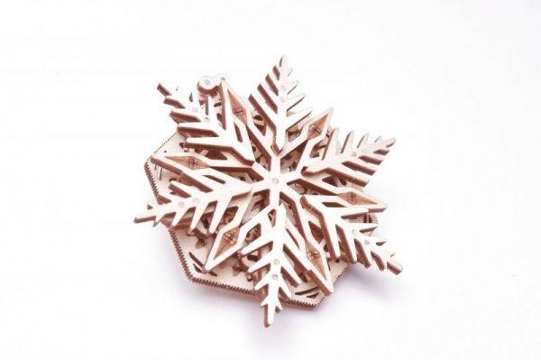 Механичен 3D пъзел Wood Trick - Снежинка, 24 части