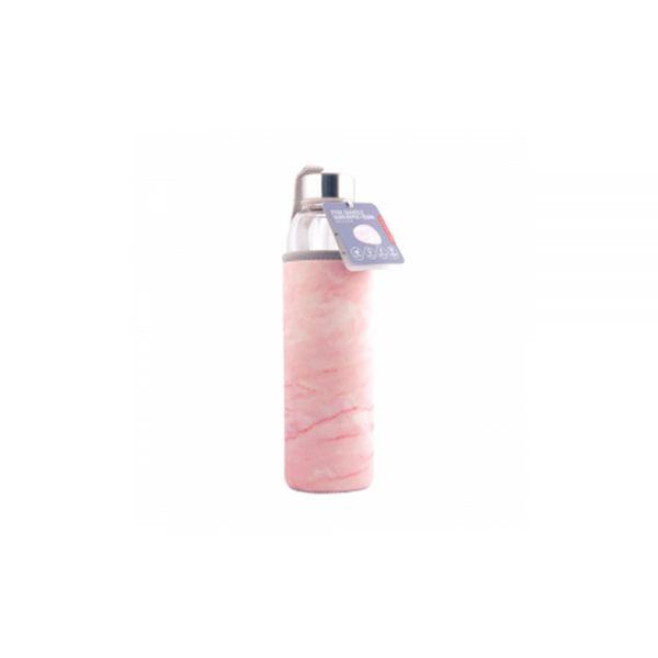 Бутилка Kikkerland - Розов мрамор, 600мл