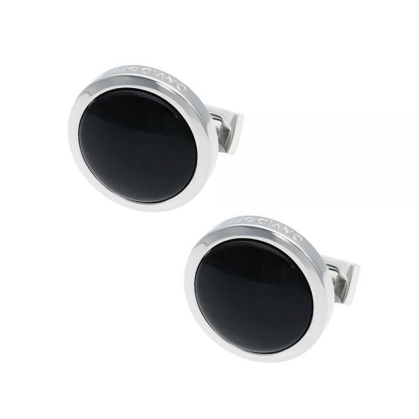 Ръкавели DAVIDOFF - Essentials Rhodium, кръгли,черни