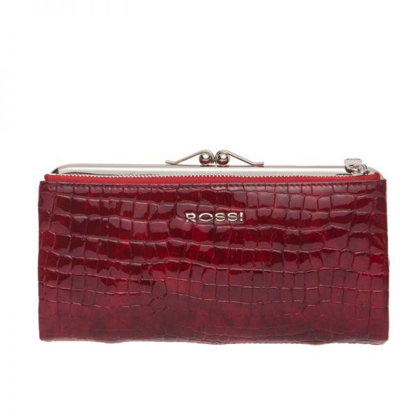 Дамски портфейл Rossi - Крокодилска текстура, бордо