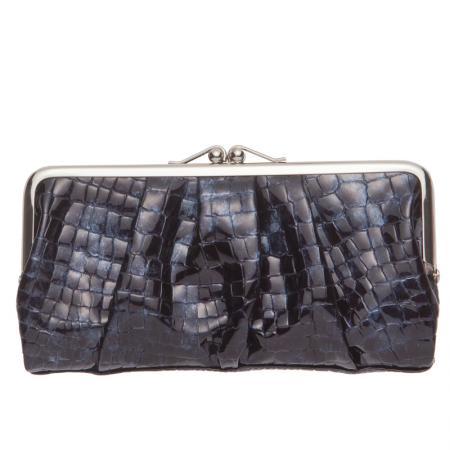 Дамски портфейл Rossi - Крокодилска текстура, черен