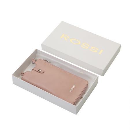 Калъф за смартфон Rossi, тип чанта, с цип, бледо розов
