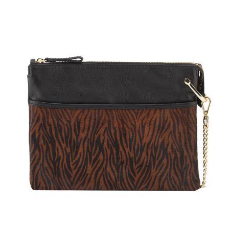 Дамска чанта Rossi - тигров дизайн, черна
