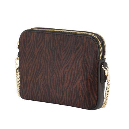 Малка дамска чанта Rossi - тигров дизайн, черна