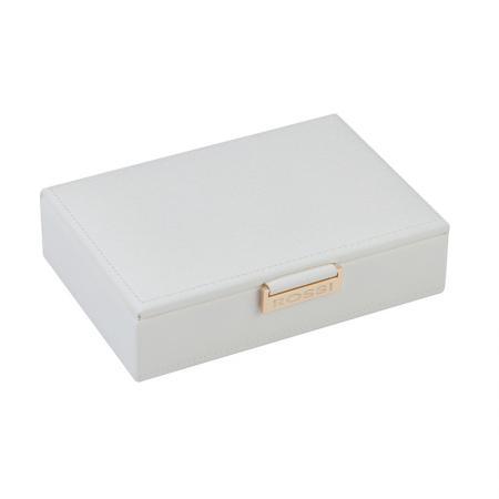 Кутия за бижута Rossi, дърво и еко кожа, бяла