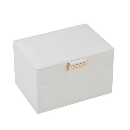 Кутия за бижута Rossi, две нива, дърво и еко кожа, бяла