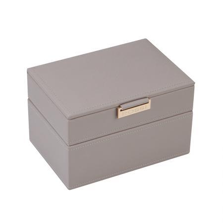 Кутия за бижута Rossi, две нива, дърво и еко кожа, сива