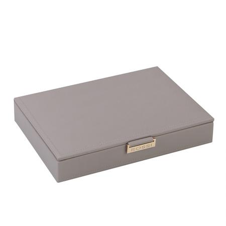 Кутия за бижута Rossi, 6 отделения, дърво и еко кожа, сива