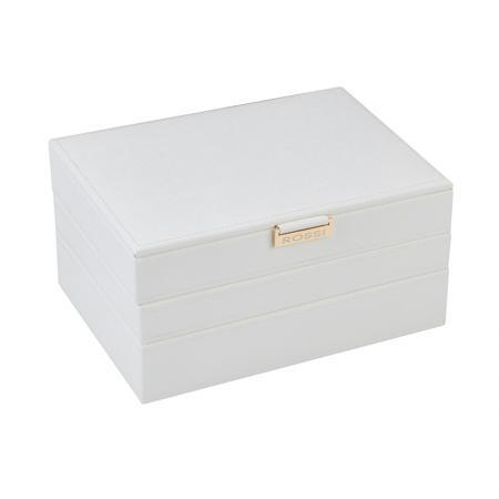 Кутия за бижута Rossi, 6 отделения, дърво и еко кожа, бяла