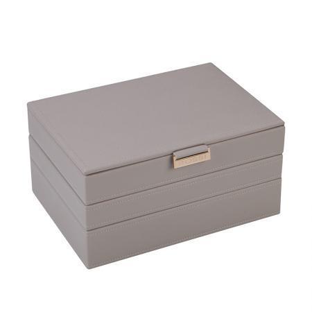Кутия за бижута Rossi, 3 нива, дърво и еко кожа, сива