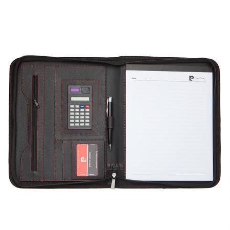 Комплект Pierre Cardin - тефтер и химикал, с вграден калкулатор, черни