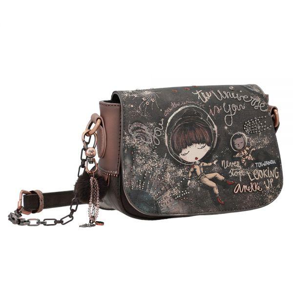 Дамска чанта Anekke - Universe, с капак, тъмнокафява