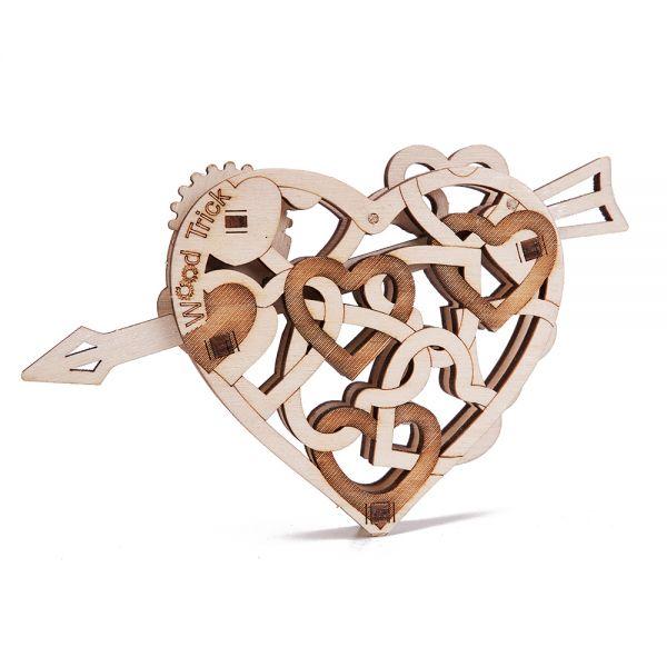 Механичен 3D пъзел Wood Trick - Heart, 11 части