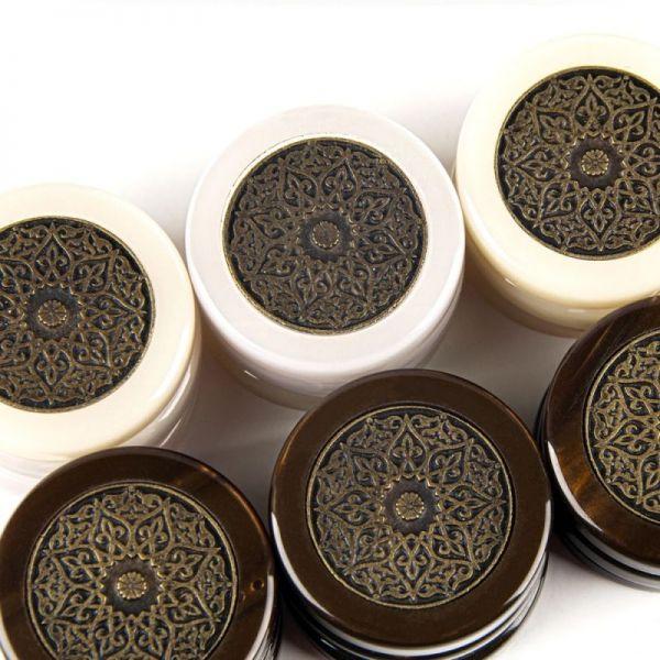 Пулове за табла Manopoulos, акрилни със седефен ефект, с метални орнаменти, 36 мм.
