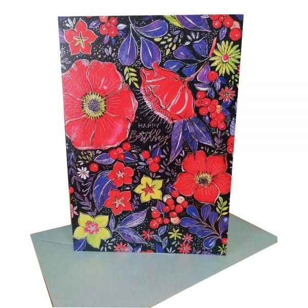 """Поздравителна картичка """"Happy Birthday"""", с  цветя, черна"""