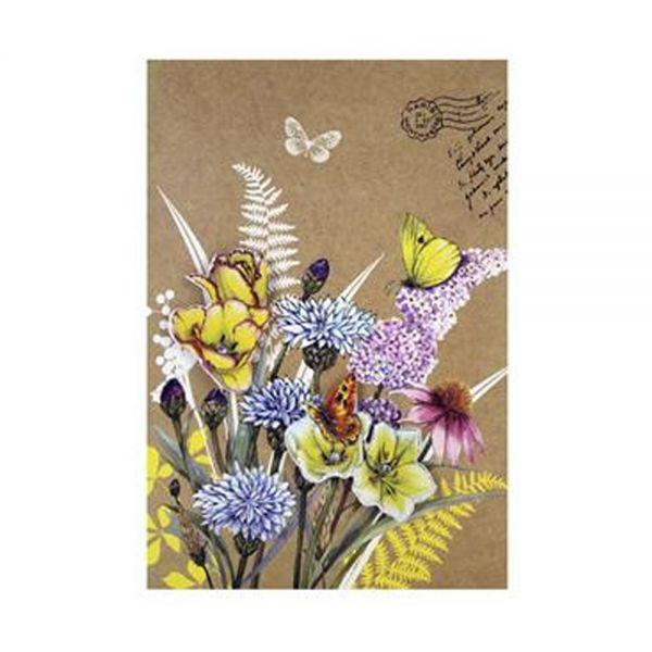 Поздравителна картичка с флорални мотиви и 3D ефект - ръчна изработка