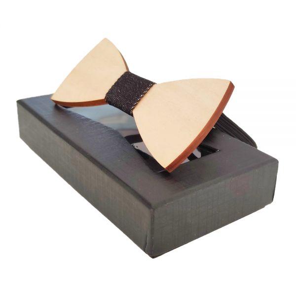 Дървена папионка, в стилна черна кутия