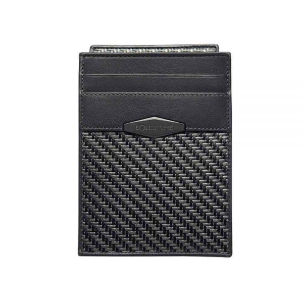 Калъф за кредитни карти с подвижно отделение за документи от Карбон Coldfire, GT-Rebel Carbon Fiber Minimalist ID Cardholder Wallet, RFID защита